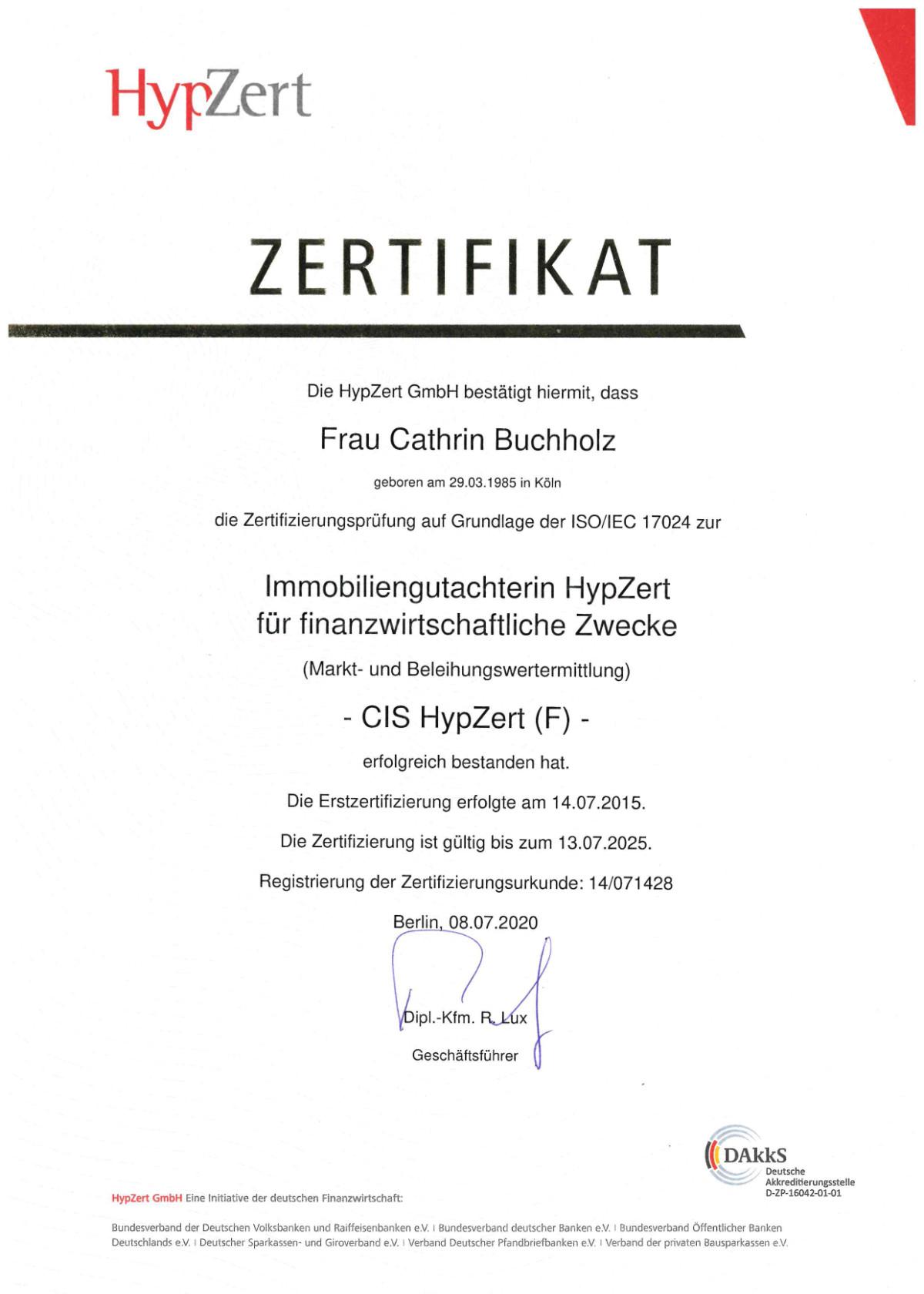HypZert Zertifikat Cathrin Buchholz