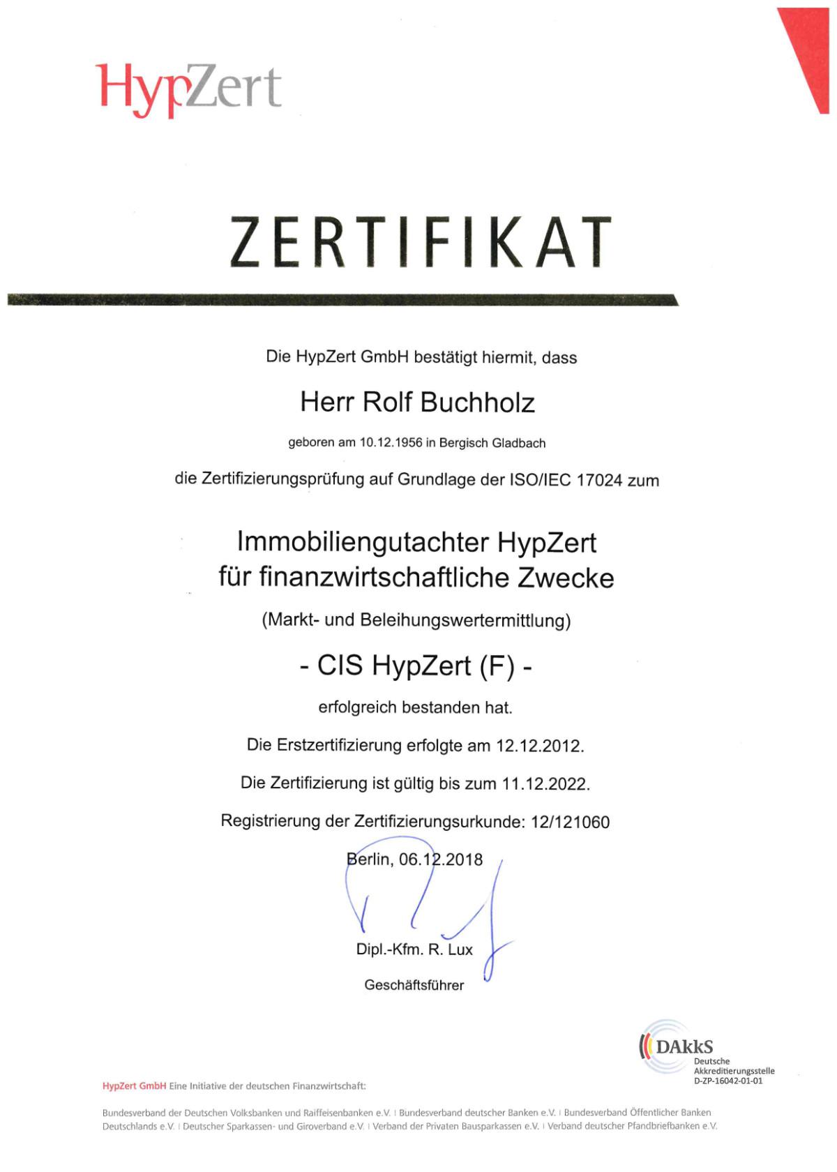 HypZert Zertifikat Rolf Buchholz